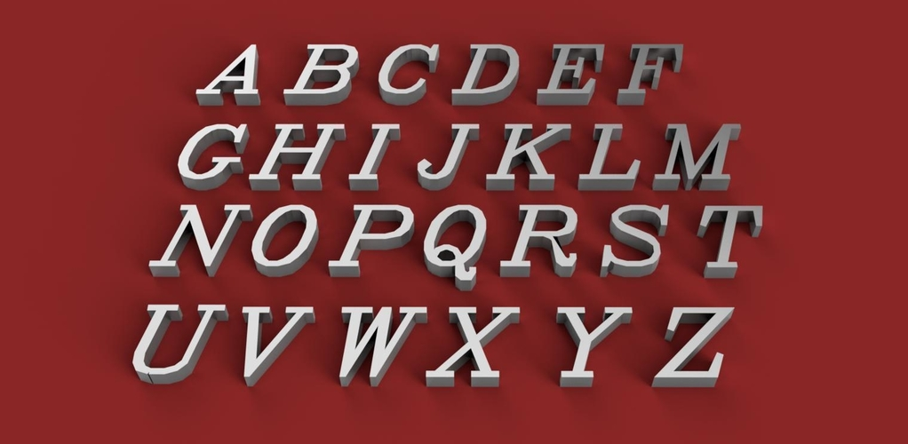 ITALIC font uppercase 3D letters STL file 3D Print 254375