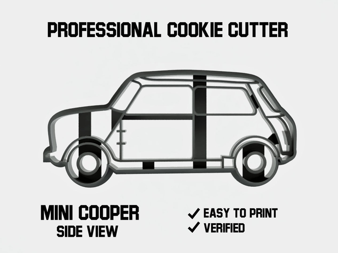 Mini cooper car side view cookie cutter 3D Print 254637