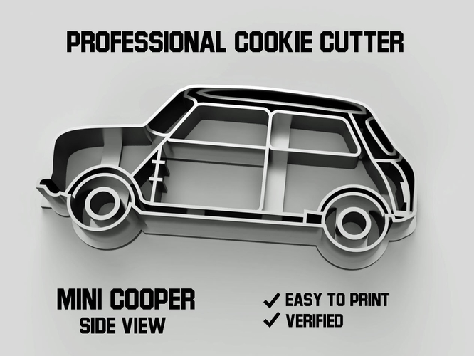 Mini cooper car side view cookie cutter 3D Print 254638