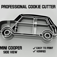 Small Mini cooper car side view cookie cutter 3D Printing 254638