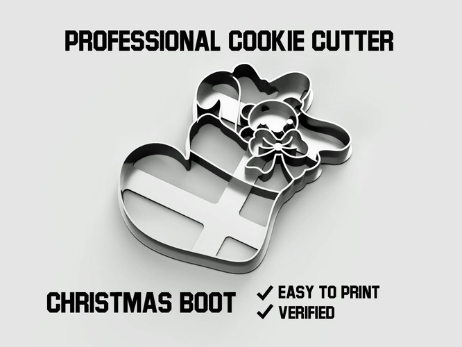 Christmas boot cookie cutter 3D Print 254752