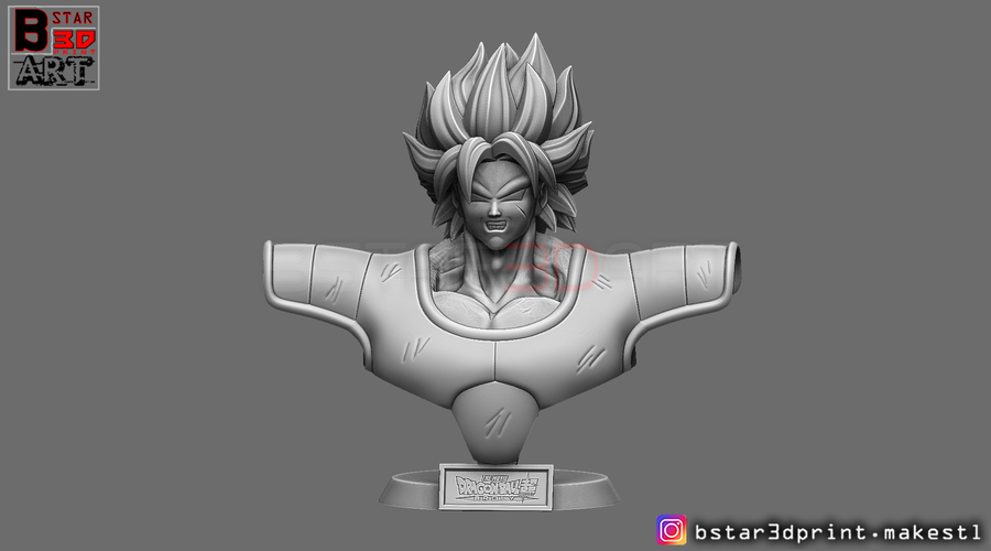 ​Broly Bust - from Broly Movie 2019 3D Print 255412