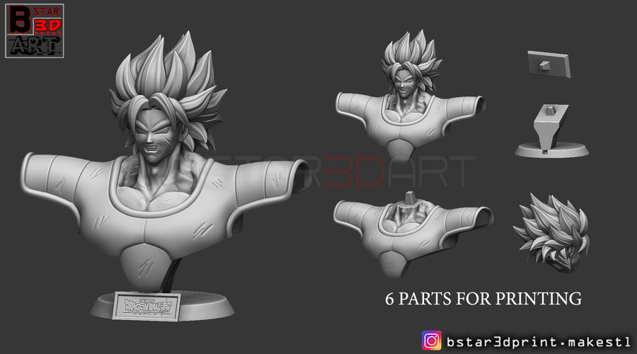 ​Broly Bust - from Broly Movie 2019 3D Print 255686