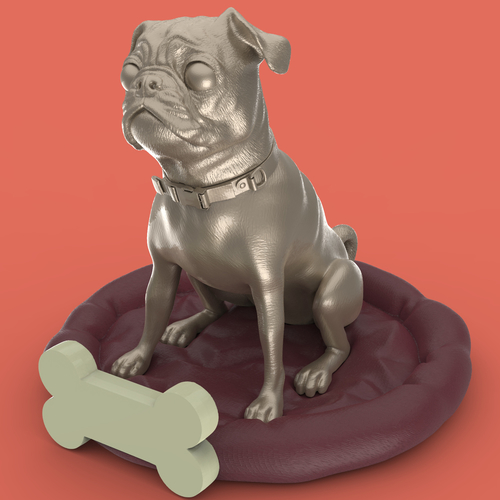 Pug dog realistic model, splited and ready for 3d print 3D Print 256467