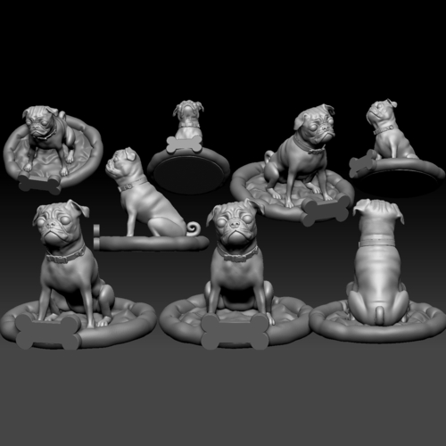 Pug dog realistic model, splited and ready for 3d print 3D Print 256468