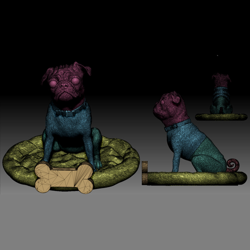 Pug dog realistic model, splited and ready for 3d print 3D Print 256469