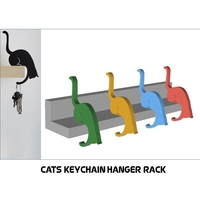 Small Cats Keychain Hanger Rack  3D Printing 256839