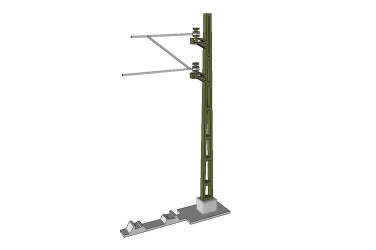 Catenary mast for model railway (1:32, OpenRailway) 3D Print 25686