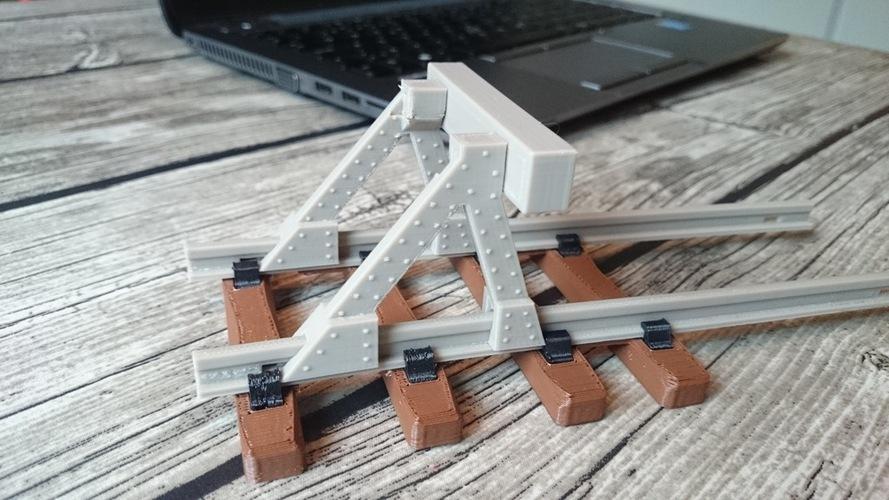 3D Printed Model Railway Buffer Stop (1:32, OpenRailway) by