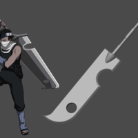 Small Zabuza sword from Naruto Shippuden - Fan Art for cosplay 3D Printing 256903