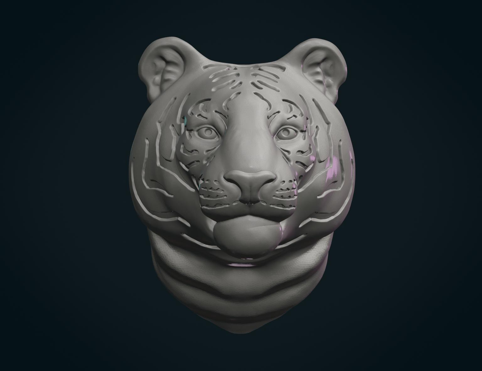 3D Printed Tiger Head by Skazok