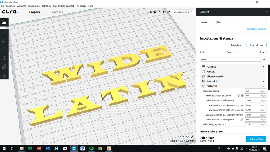 WIDE LATIN font uppercase 3D letters STL file 3D Print 257691