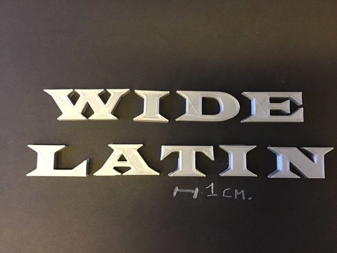 WIDE LATIN font uppercase 3D letters STL file 3D Print 257692