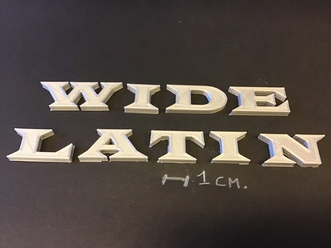 WIDE LATIN font uppercase 3D letters STL file 3D Print 257693
