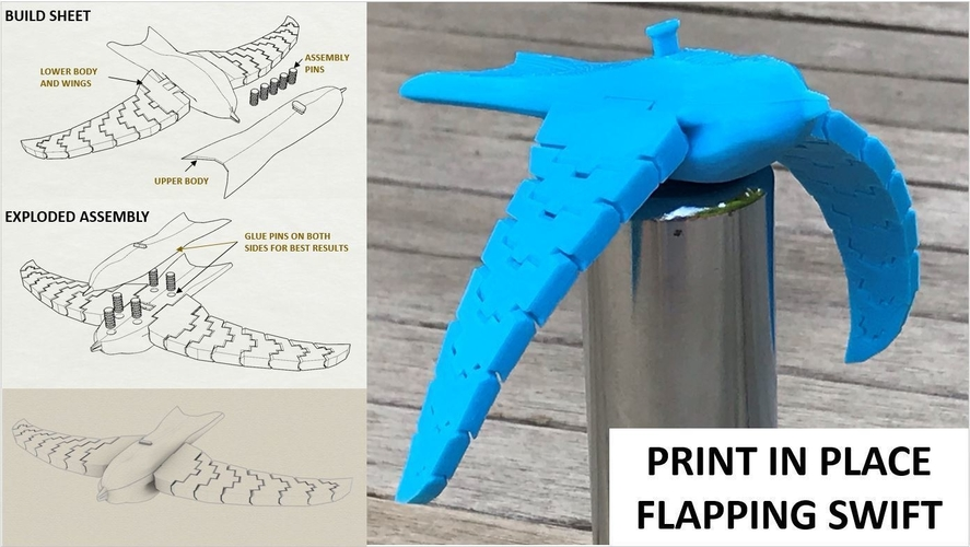 (Mostly) Print in place flapping swift 3D Print 257917