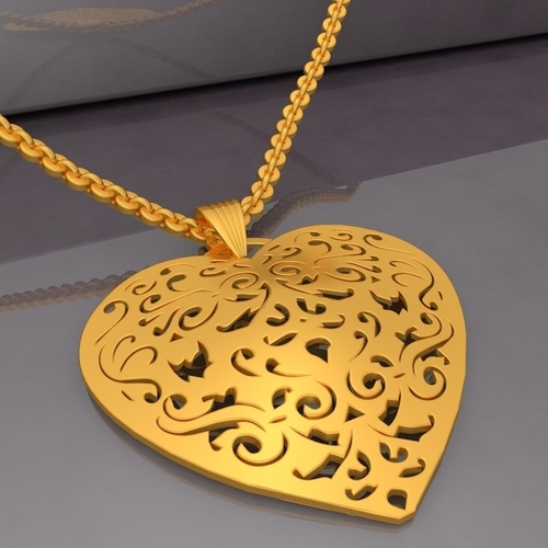 Filigree Heart Pendant KTFHP03 3D Model STL 3D Print 257918