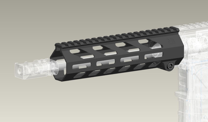 Airsoft M-lok handguard with delta ring 3D Print 257973
