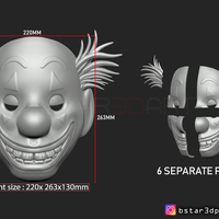 Small Joker Mask 2019 with hair - Clown mask 2019 - Halloween Mask  3D Printing 258120