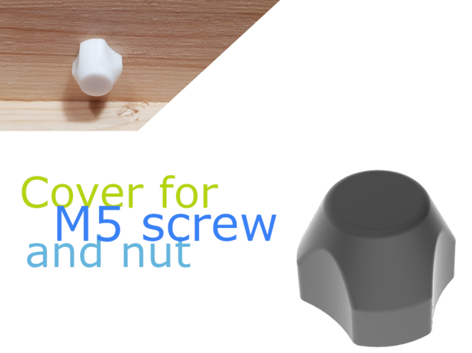 nut/screw-cover for M5 3D Print 258496