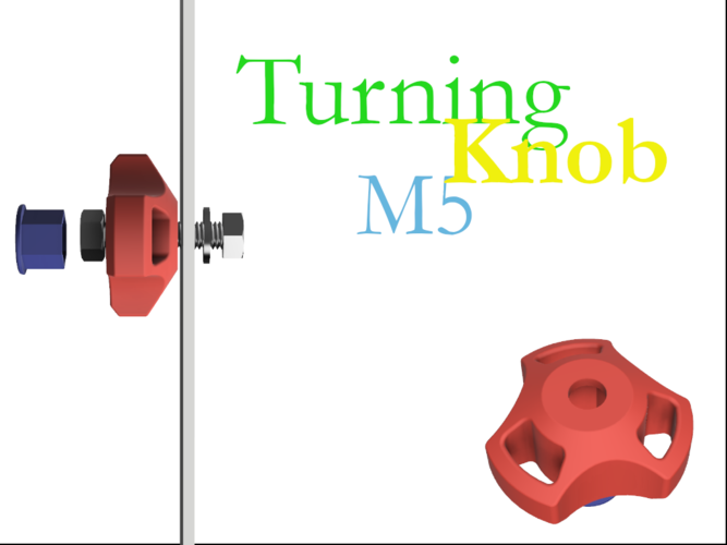 turning knob for m5 hex head 3D Print 258501