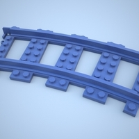 Small Lego Train Track, Curved 3D Printing 25858