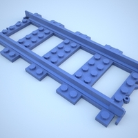 Small Lego Train Track, Straight 3D Printing 25863