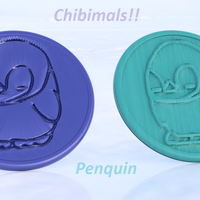 Small Penquin chibimals coaster (pair) 3D Printing 258700