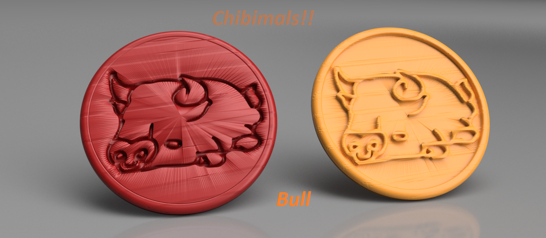 Bull chibimals coaster (pair) 3D Print 258701