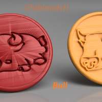 Small Bull chibimals coaster (pair) 3D Printing 258701