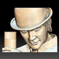 Small Portrait STL bas-relief Clockwork orange 3D Printing 259201