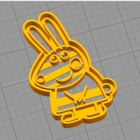 Small REBECCA RABBIT (from PEPPA PIG) COOKIE CUTTER 3D Printing 259293