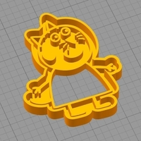 Small CANDY CAT (from PEPPA PIG) COOKIE CUTTER 3D Printing 259295