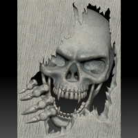 Small Skull monster bas-relief STL file for CNC or 3D printing 3D Printing 259461