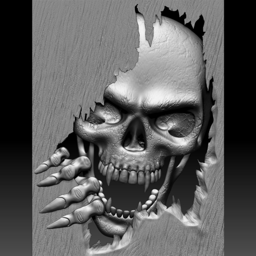 3D Printed Skull Monster Bas-relief STL File For CNC Or 3D