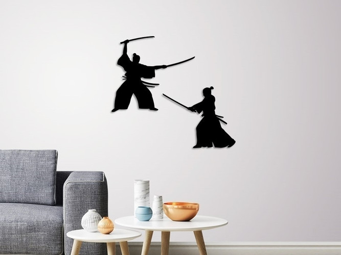 SAMURAI WARRIORS WALL DECORATION 3D Print 259597