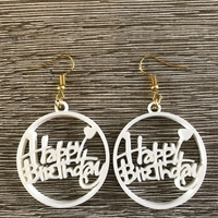 Small Happy birthday earrings 3D Printing 259769