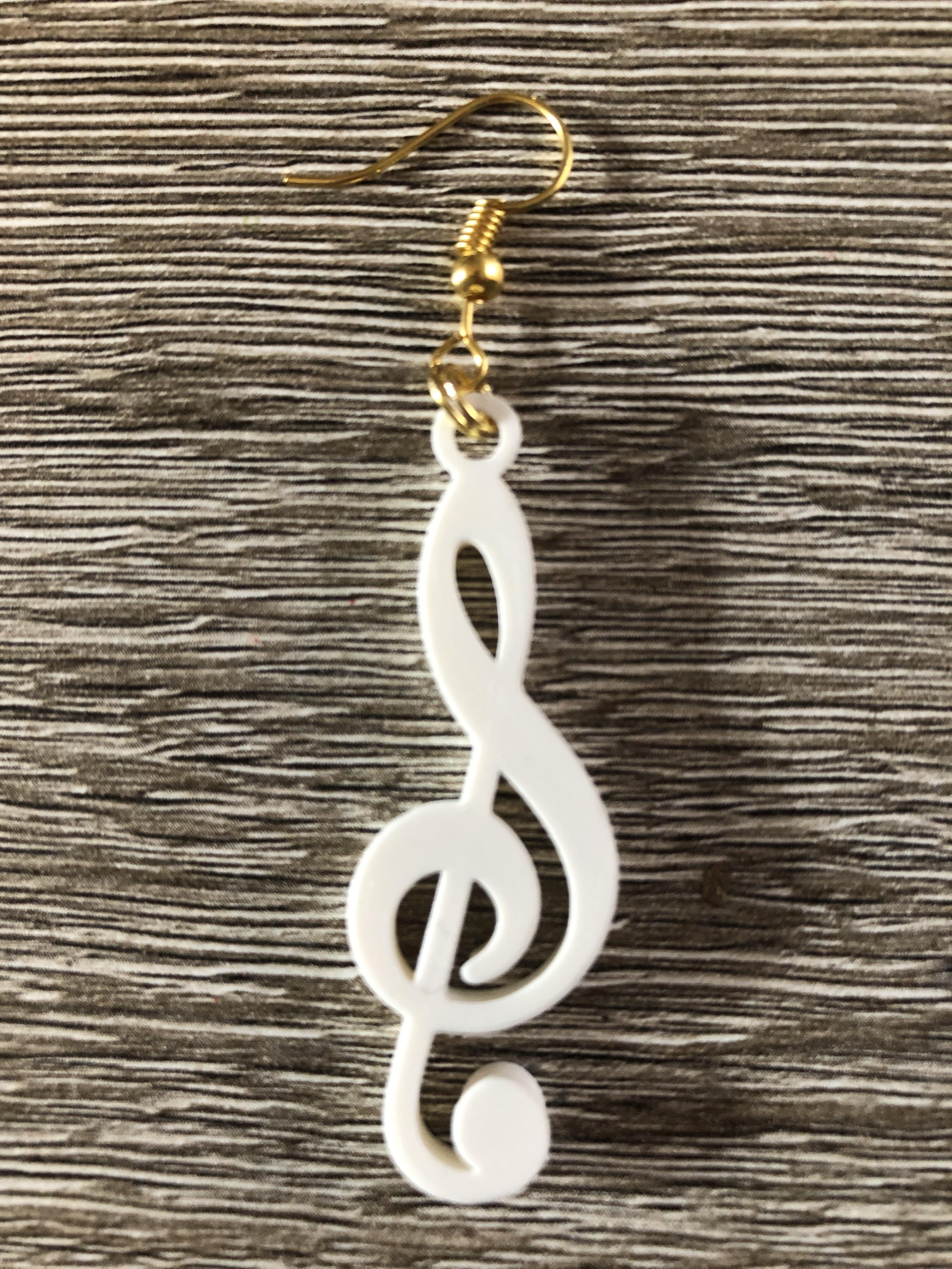 3D Printed Treble Clef Music Note Earrings