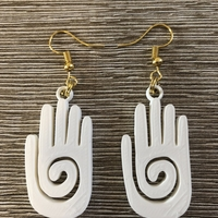 Small Mayan hand earrings 3D Printing 260321