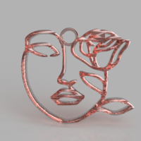 Small Artistic face earring 3D Printing 260820