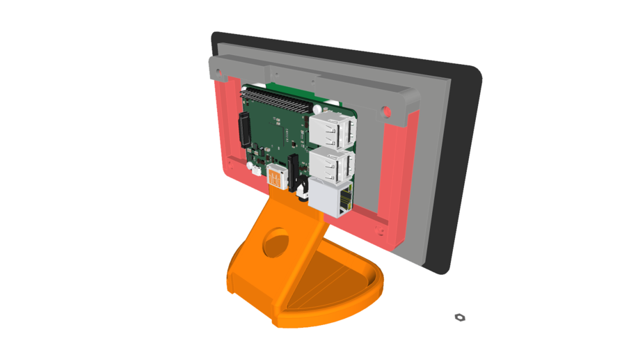 PiMac - Raspberry Pi 7 Inch Touch Screen Stand (with Camera) 3D Print 261056