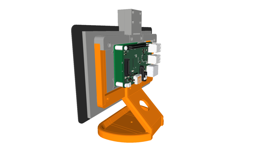 PiMac - Raspberry Pi 7 Inch Touch Screen Stand (with Camera) 3D Print 261062