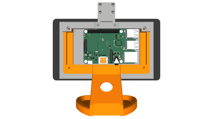 PiMac - Raspberry Pi 7 Inch Touch Screen Stand (with Camera) 3D Print 261063