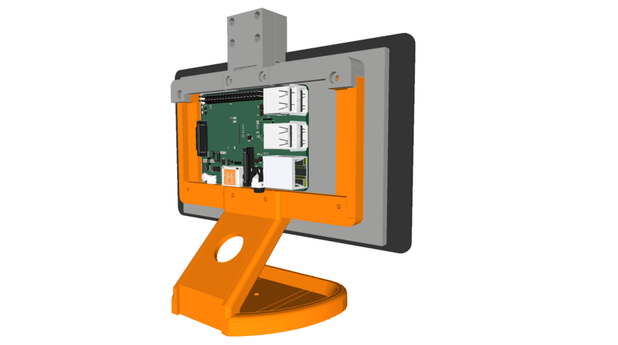 PiMac - Raspberry Pi 7 Inch Touch Screen Stand (with Camera) 3D Print 261064