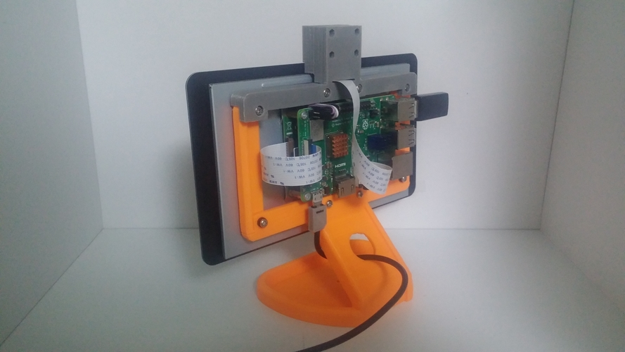 PiMac - Raspberry Pi 7 Inch Touch Screen Stand (with Camera) 3D Print 261091