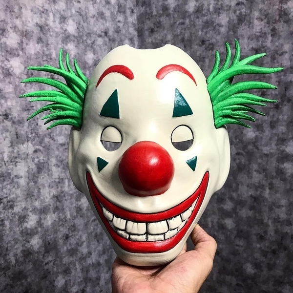 Medium Joker Mask 2019 with hair - Clown mask 2019 - Halloween Mask  3D Printing 261404