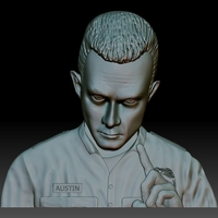 Small Terminator T1000 STL file portrait bas-relief for CNC router 3D Printing 261409