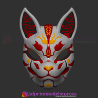 Small Japanese Fox Mask Demon Kitsune Costume Cosplay Helmet STL File  3D Printing 261849