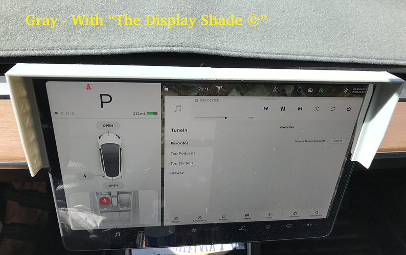 Tesla Model 3 Dash Display Shade 3D Print 262006