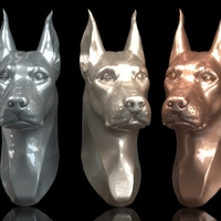 Small Doberman Head 3D Printing 263243