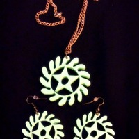 Small Adinkra symbols pendant and earrings sets 3D Printing 26455